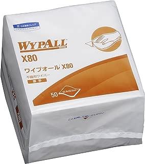 【ケース販売】 クレシア ワイプオール X80 4つ折り 50枚/パック ×12パック入 厚手タイプの毛羽立ちにくい不織布ワイパー 60580
