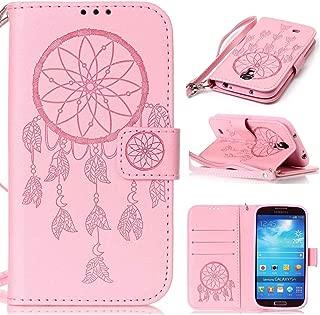 Ycloud Funda Libro para Samsung Galaxy S4 Mini (i9190) 4.3 Pulgada, PU Leather Cuero con Flip Cover Cierre Magnético Función de Soporte Billetera Case con Tapa para Tarjetas Atrapasueos Rosa