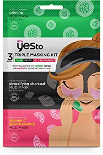 Yes To Triple Masking Kit, Calm, Detox, Vit C Glow-Boosting - 3 Single Masks | For All Skin Types | Cucumber To Calm, Char...