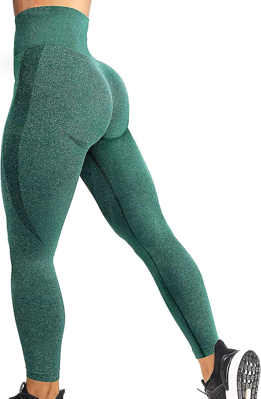 HIGORUN Women Seamless Leggings Smile Contour High Waist Workout Gym Yoga Pants: Clothing