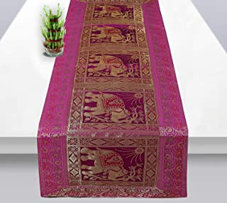Radhy krishna fashions Rajasthani Hand Art Work Elephant Design Silk Table Runner & Tablecloth 60 x 16 Inch (Rani Color)