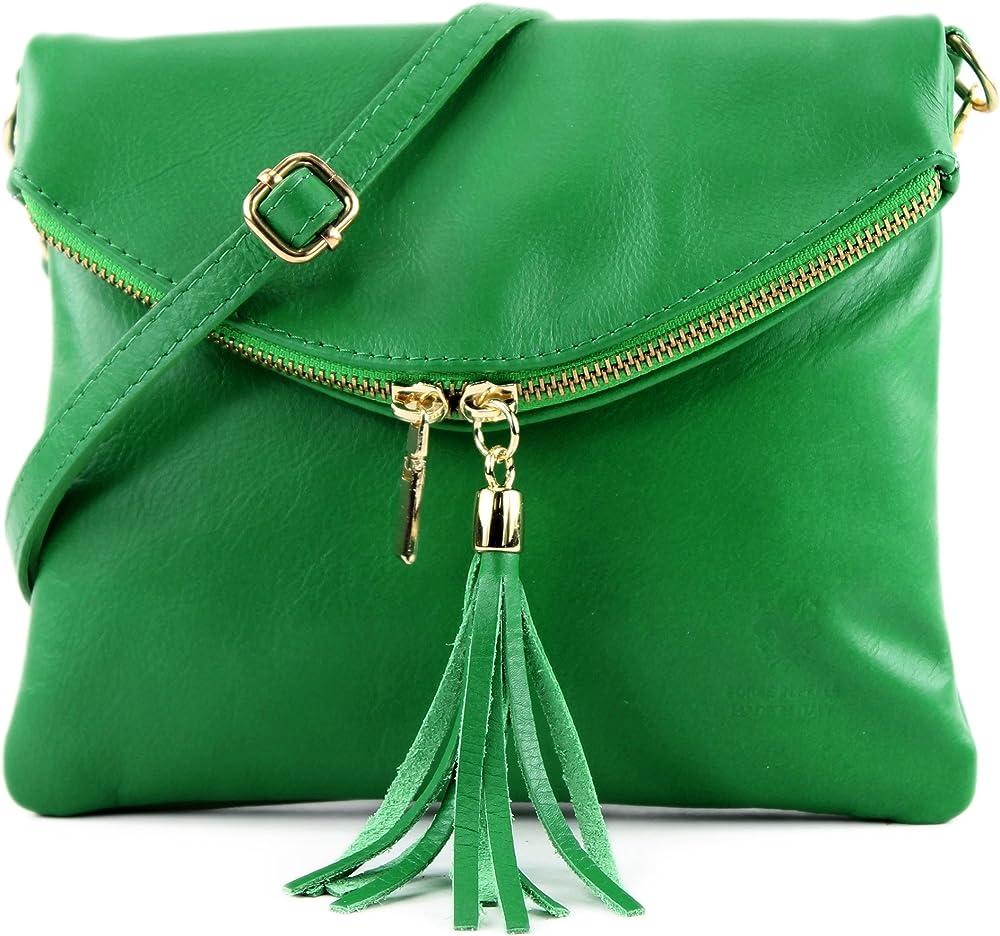 Modamoda de, borsa da donna a tracolla,pochette, in vera pelle, verde T139A-GN