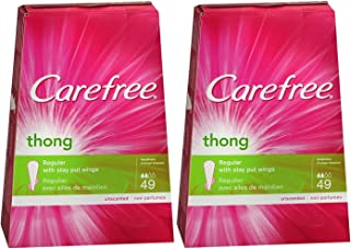 Carefree Thong Pantiliner Unscented 49 Liners per Box, 2 Pack