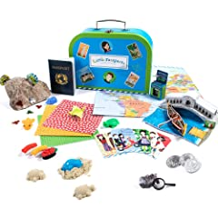 In the first package you'll receive our signature blue suitcase, your very own passport and wall-sized world map, an exclusive collectible Country Coin and coin board, three soft animal squishies, and a welcome letter from new pen pals Sam & Sofia. L...