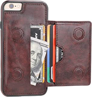 iPhone 6 iPhone 6S Wallet Case with Credit Card Holder, KIHUWEY Premium Leather Kickstand Durable Shockproof Protective Cover for iPhone 6/6S 4.7 Inch(Brown)