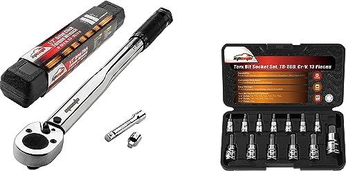 lowest EPAuto 1/2-inch online sale Drive Click Torque Wrench + EPAuto Torx Bit Socket Set, Star Socket 2021 T8-T60 outlet sale