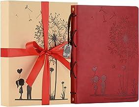 ZEEYUAN Album Foto, Memory Scrapbook Dente di Leone Morbida Pelle Album Fotografico Vintage Famiglia Libro Speciale di Natale di Regali di Compleanno Unico Regalo per Le Donne (Rosso)