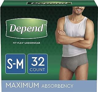 Depend FIT-FLEX Incontinence Underwear for Men, Disposable, S/M, 32 Count