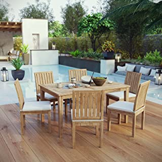 Modway EEI-3293-NAT-WHI-SET Marina 7 Piece Patio Teak Outdoor Dining Set in Natural White, Six Side Chairs/One Table,