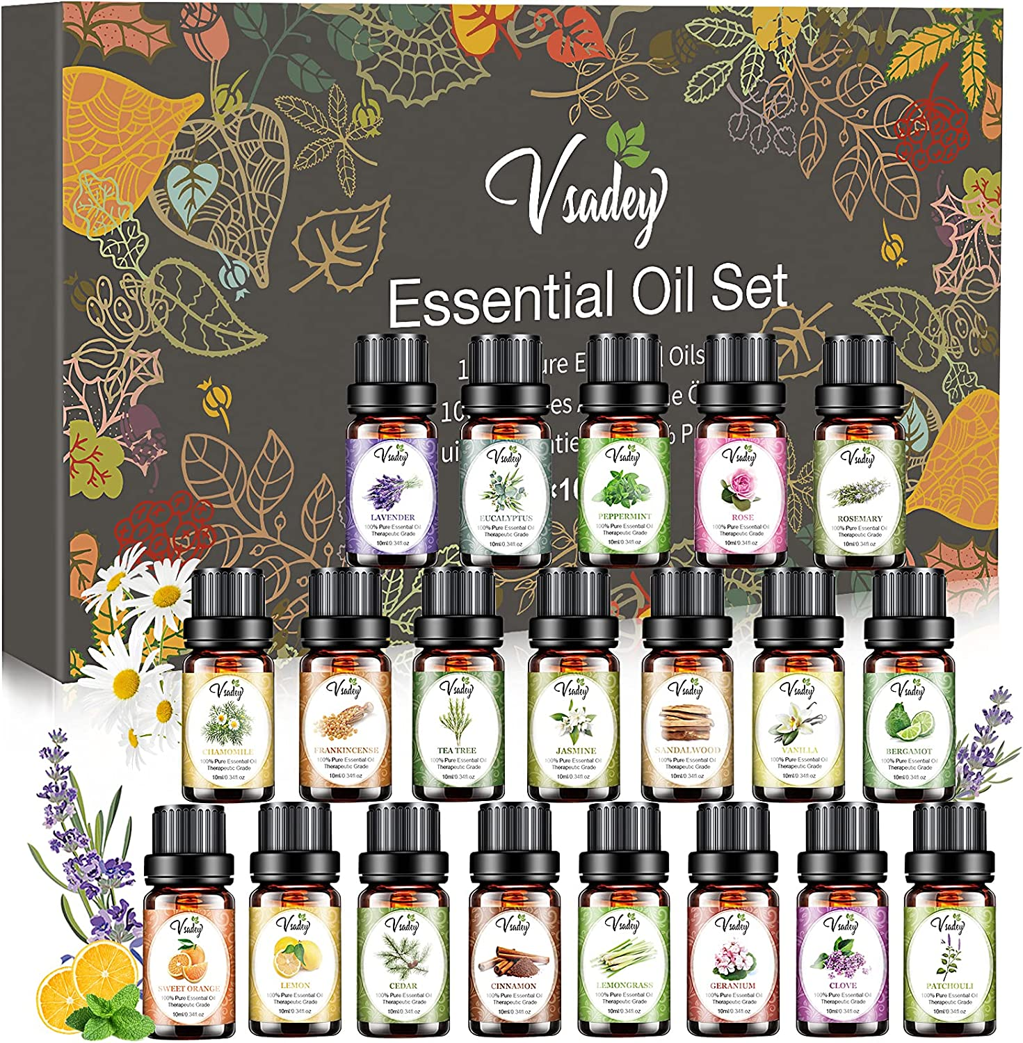 Essential Oils Set, 20*10ml Pure Natural Aromatherapy Oils Kit for Diffuser for Home, Humidifier, Aromatherapy, Massage, Skin & Hair Care - Lavender, Tea Tree, Eucalyptus, Sweet Orange and Sandalwood