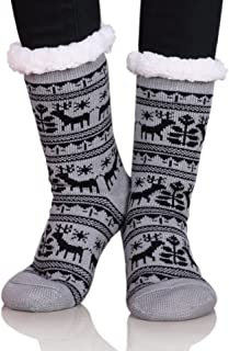 Christmas Gift Socks Women Grils Deer Slipper Socks Super Soft Warm Fuzzy Home Socks with Gripper