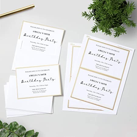 Amazon Com Avery Blank Greeting Cards With Envelopes 5 X 7 Matte White With Gold Border 30 Cards Envelopes 3325 Metallic Gold Border Office Products