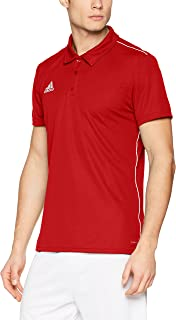 adidas Weft knitted Core 18 Sports Polo T-Shirt for Men XL - Power Red/White
