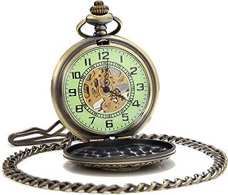 Vintage mecánica Mano Viento Reloj de Bolsillo Luminosa Esfera Lupa de Cristal