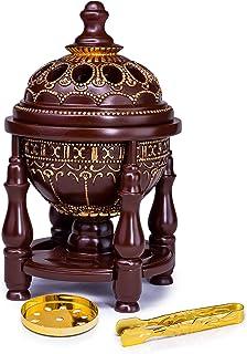 AM Charcoal Incense Burner - Bakhoor Burner, Oud Frankincense Resin Burner - for Office & Home Decor - Lavish 4 Pillar Brown
