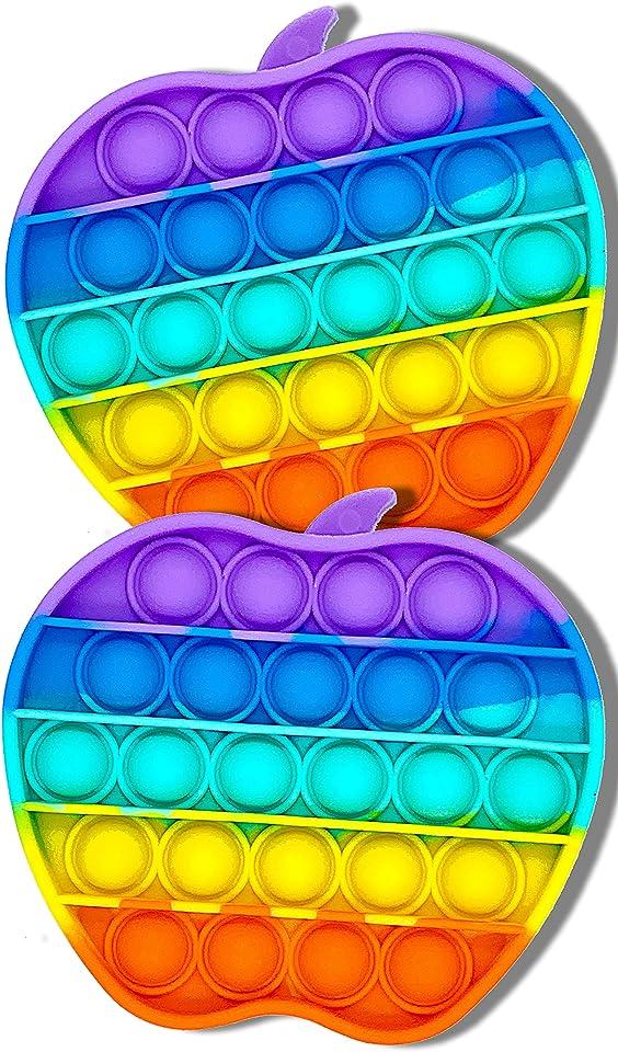HIVEHYPE 2 Push Pop It Bubble Sensory Fidget Toy, Extrusion Bubble Fidget Sensory Toy, Autism Special Needs Stress Reliever Anxiety Relief Toys (Apple & Apple)