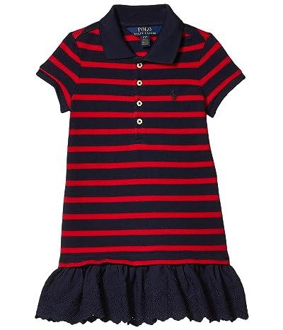 Polo Ralph Lauren Kids Eyelet Stretch Mesh Polo Dress (Toddler) (RL 2000 Red/Hunter Navy) Girl