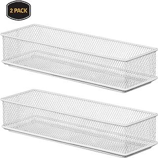 YBM HOME White Mesh Drawer Cabinet and or Shelf Organizer Bins, School Supply Holder Office Desktop Organizer Basket 2523-2 (2, 3x9x2 Inch)