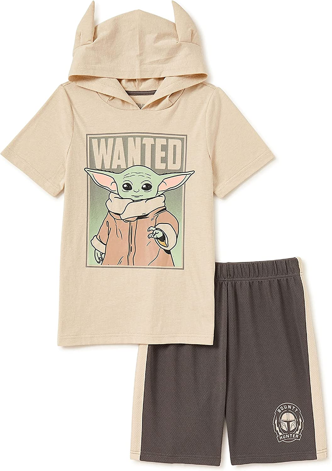 Yoda Boys' Hoodie T-Shirt & Knit Pull On Shorts, 2 Piece Outfit Set, (4) Green