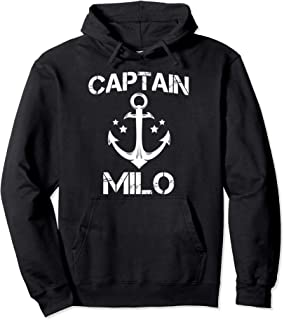 CAPTAIN MILO Funny Birthday Personalized Name Boat Gift Pullover Hoodie
