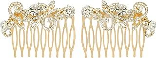 EVER FAITH Austrian Crystal Wedding Floral Leaf Vine Hair Comb Set of 2 Clear