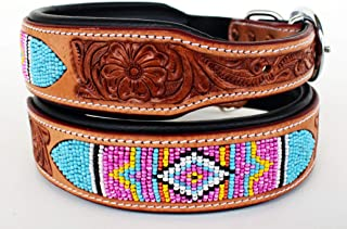 PRORIDER X-Small Challenger Hand Tooled Beaded Padded Leather Dog Collar 6036-XS