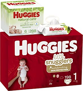 Huggies Brand Bundle – Huggies Little Snugglers Baby Diapers, Size 1, 198 Ct & Huggies Natural Care Unscented Baby Wipes, Sensitive, 6 Disposable Flip-Top Packs - 288 Total Wipes (Packaging May Vary)