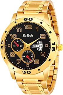0cb4297b2e2214 Relish Golden Chain and Dial Latest Stylish Analog Wrist Watch for Mens