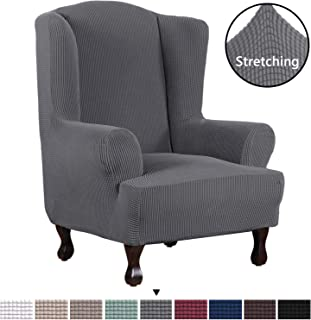 H.VERSAILTEX 1 Piece Super Stretch Stylish Furniture Cover/Wingback Chair Cover Slipcover Spandex Jacquard Checked Pattern, Super Soft Slipcover Machine Washable/Skid Resistance (Wing Chair, Gray)