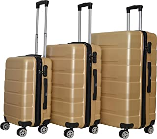 Luggage Set of Full ABS Suitcases with 4 silence spinner wheels Push Button Handle Safe Combination,3 Pcs 20-24-28 inc Golden