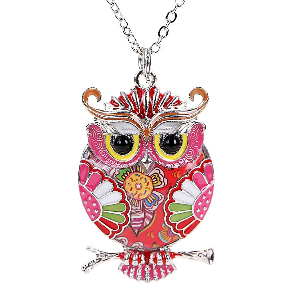 Marte&Joven Owl Necklaces & Pendants for Women Unique Jewelry can use as Keychain with Gift Box Package