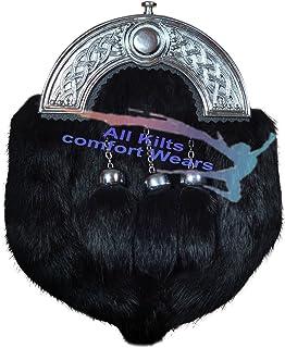 Black Rabbit Fur Three Teasal Sporran - USA Seller