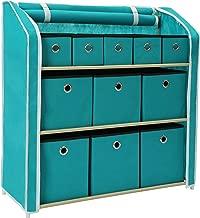MULSH Multi-Bin Storage Unit Organizer with Storage Bins Multi-Section Storage Cabinet Sturdy Metal Shelf Frame Turquoise ,31