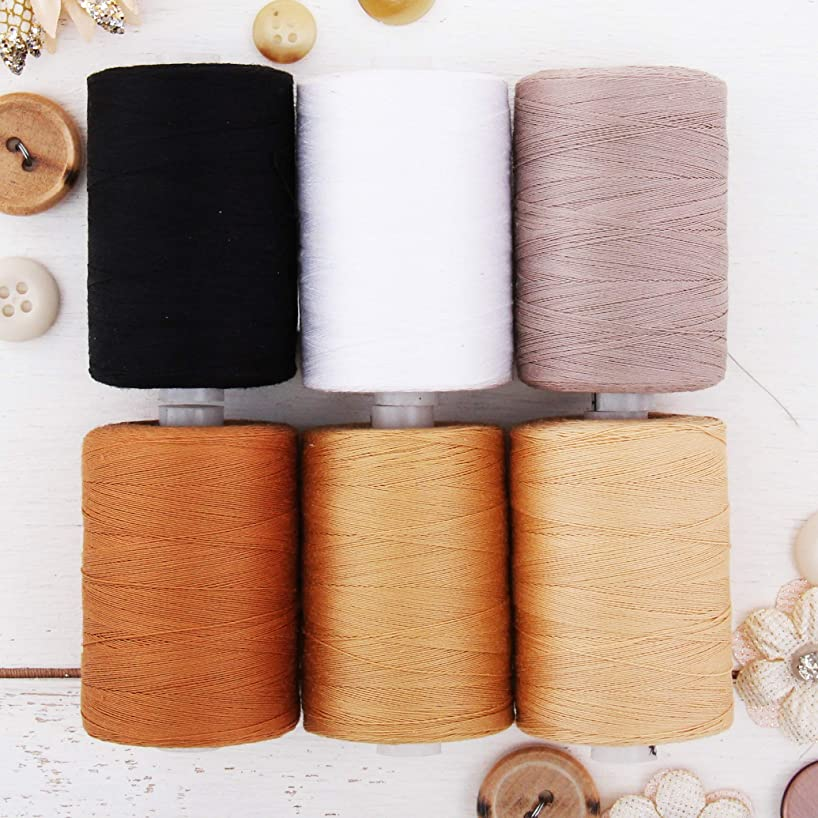 Threadart 100% Cotton Thread Set | 6 Quilting Tones | 1000M (1100 Yards) Spools | For Quilting & Sewing 50/3 Weight | Long Staple & Low Lint | Over 20 Other Sets Available