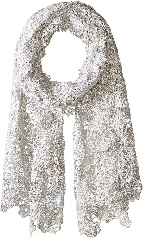 Betsey Johnson womens Sequin Scallped Edge Crochet Evening Wrap Fashion Scarf