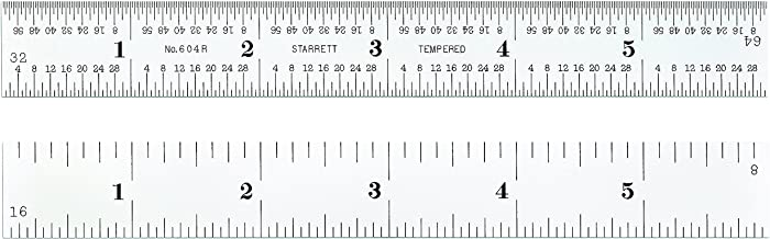 3//64 Thickness 6 Length 4R Graduations 3//4 Width Starrett 1604R-6 Spring Tempered Steel Rule With Inch Graduations