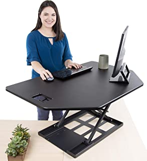 Stand Steady X-Elite Pro Corner Standing Desk | 40 Inch Corner Sit to Stand Desk Converter Ideal for Cubicles and L Shaped Desks! Easy Height-Adjustable and Fully Assembled!