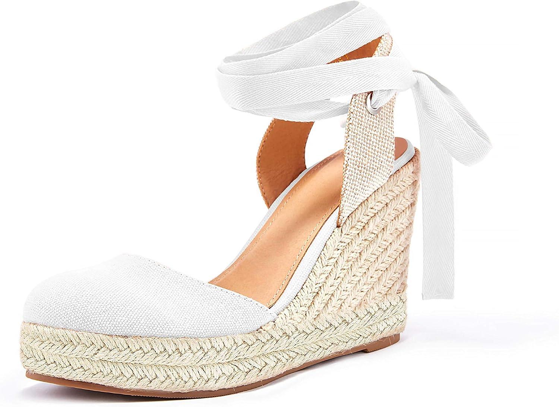 Womens Espadrille Platform Wedge Sandals Closed Toe Lace Up Ankle Wrap Slingback Sandals