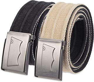 Men's Military Web Belt - Casual for Jeans Adjustable One Size Cotton Strap and Metal Plaque Buckle