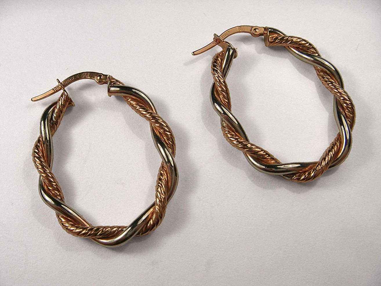 Beautiful 14K 2-toned White Gold Pink Rose Gold Braided Hoop Earrings