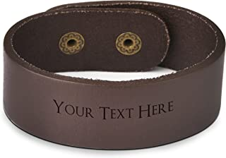 brown leather bracelets engraved