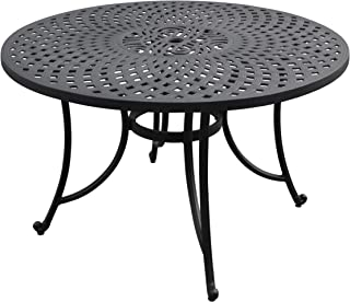 Crosley Furniture CO600148-BK Sedona Solid-Cast Aluminum Outdoor Dining Table, 46-inch, Black