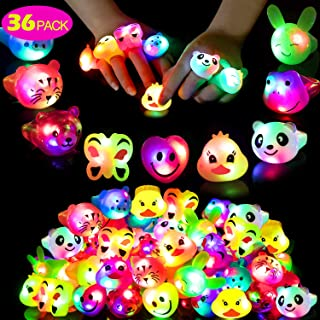 Mikulala Birthday Party Favors for Kids Prizes Flashing 36 Pack LED Jelly Light Up Rings Toys Bulk Boys Girls Gift Blinky Glow in The Dark Party Supplies 9 Color 9 Shape