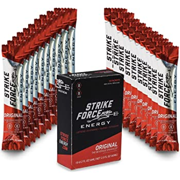 Strike Force Energy Drink Mix - Healthy Water Enhancer + Caffeine, Vitamin b12 & Potassium - Natural Tasting Flavor for Keto, Sugar Free & Vegan Diets. 10 Liquid Energy Packets - Original Flavoring