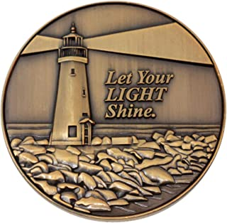 Let Your Light Shine Christian Challenge Coin, Pass Along Pocket Token of Encouragement, Handout for Bible Study, Antique ...