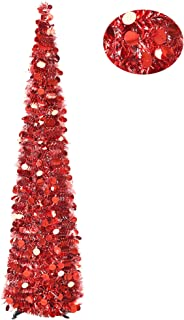 YuQi 5FT Christmas Pop Up Tinsel Trees Collapsible Reusable, Artificial RED Shiny Sequins Pencil Xmas Slim Tree Easy-Assembly with Plastic Stand for Home Apartment, Store, Wedding Decoration