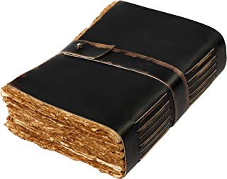$29 » Leather Village-Vintage Leather Journal Writing Notebook-Leather Bound journals to write in present for women men. journaling sketching painting Fountain calligraphy pen. 7X5 inches, 288 deckle pages