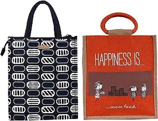 ECOTARA Elegant Eco-friendly Jute Lunch bag for Men & Women COMBO- Black & Maroon