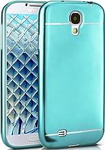 MoEx® Funda de Silicona Estilo Cromo Mate Compatible con Samsung Galaxy S4 | Flexible, Turquoise