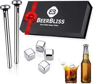 Beer Chiller Sticks for Bottles with Reusable Ice Cubes Set-Beer gift for men who love beer-Best beer gift idea for Birthd...
